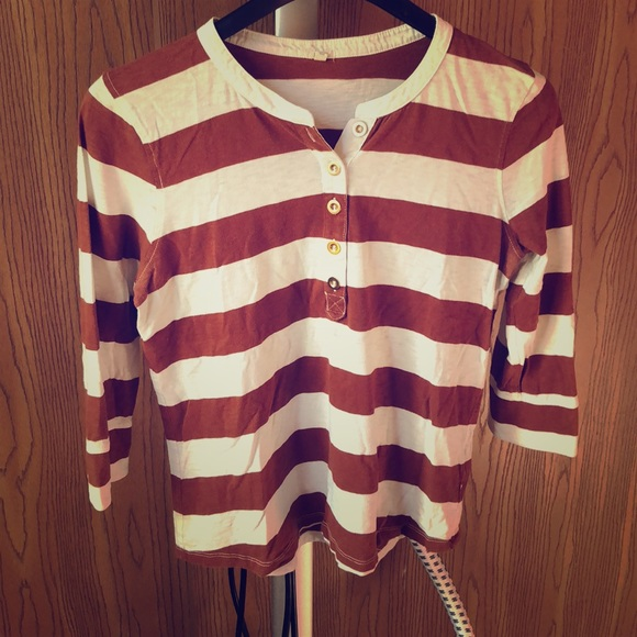 J. Crew Tops - Brown & Cream Striped J.Crew Top